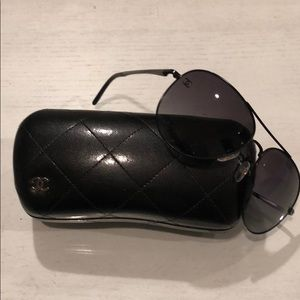 Chanel black aviators